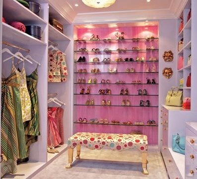 Pink and purple dressing room
