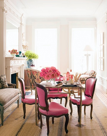 Pink dining chairs with gilt dining table