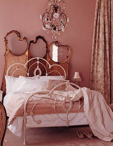 Dusky pink bedroom with gilt antique dressing screen, via Laura Ashley