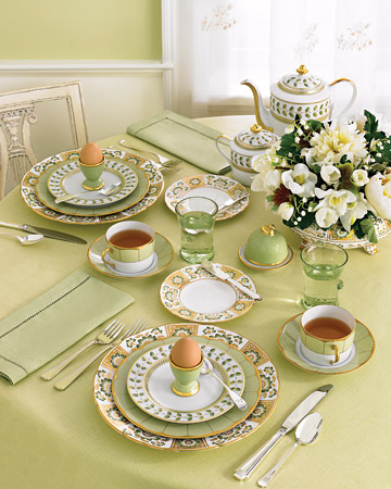 Breakfast place setting in greens and golds, via Martha Stewart