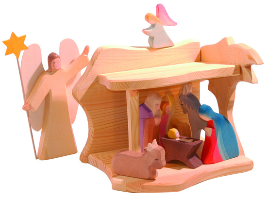 Simple and sweet European Wooden Ostheimer Nativity