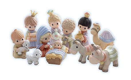 A winner with young children will be this gorgeous Precious Moments Nativity Set