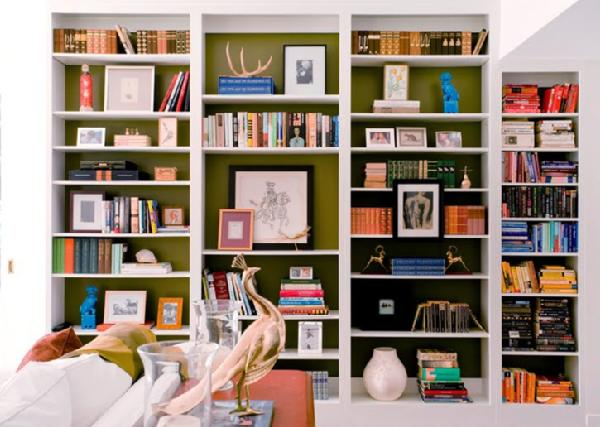 Dark lined bookshelves with books and curios