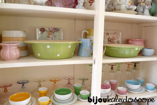 My favourite china pieces in the white china cabinet, via http://bijoukaleidoscope.com/op-shop-score/