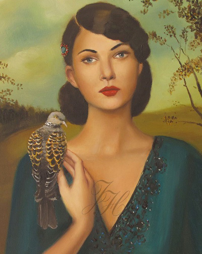 Janet Hill's Elspeth with her turtledove