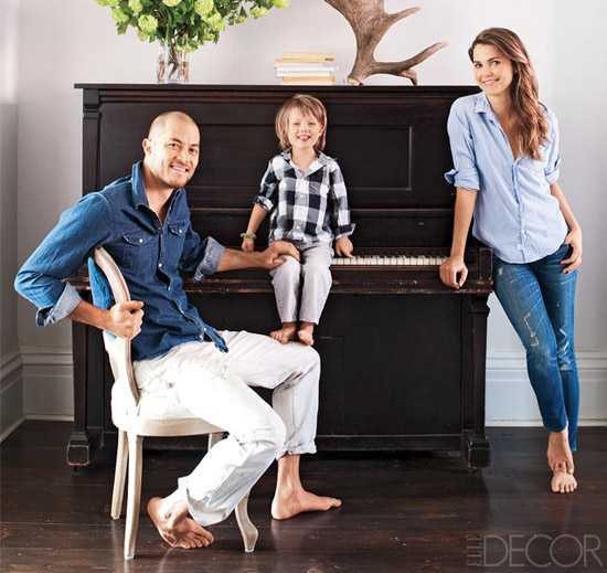 Keri Russell, her husband and son, RIver, via Elle Decor