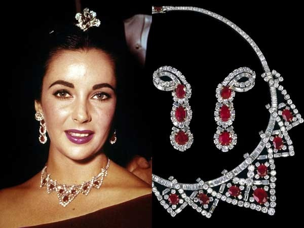 Elizabeth Taylor's divine Cartier ruby and diamond necklace, presented by husband Mike Todd.