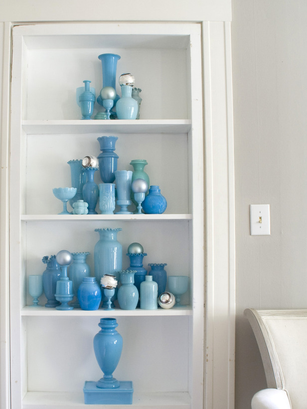 Blue milk glass collection