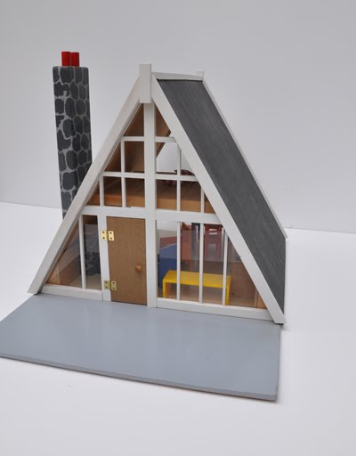 An a-frame dollhouse