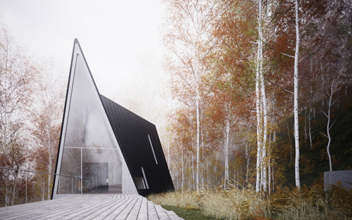Modern a-frame house with black roof, the Allandale House