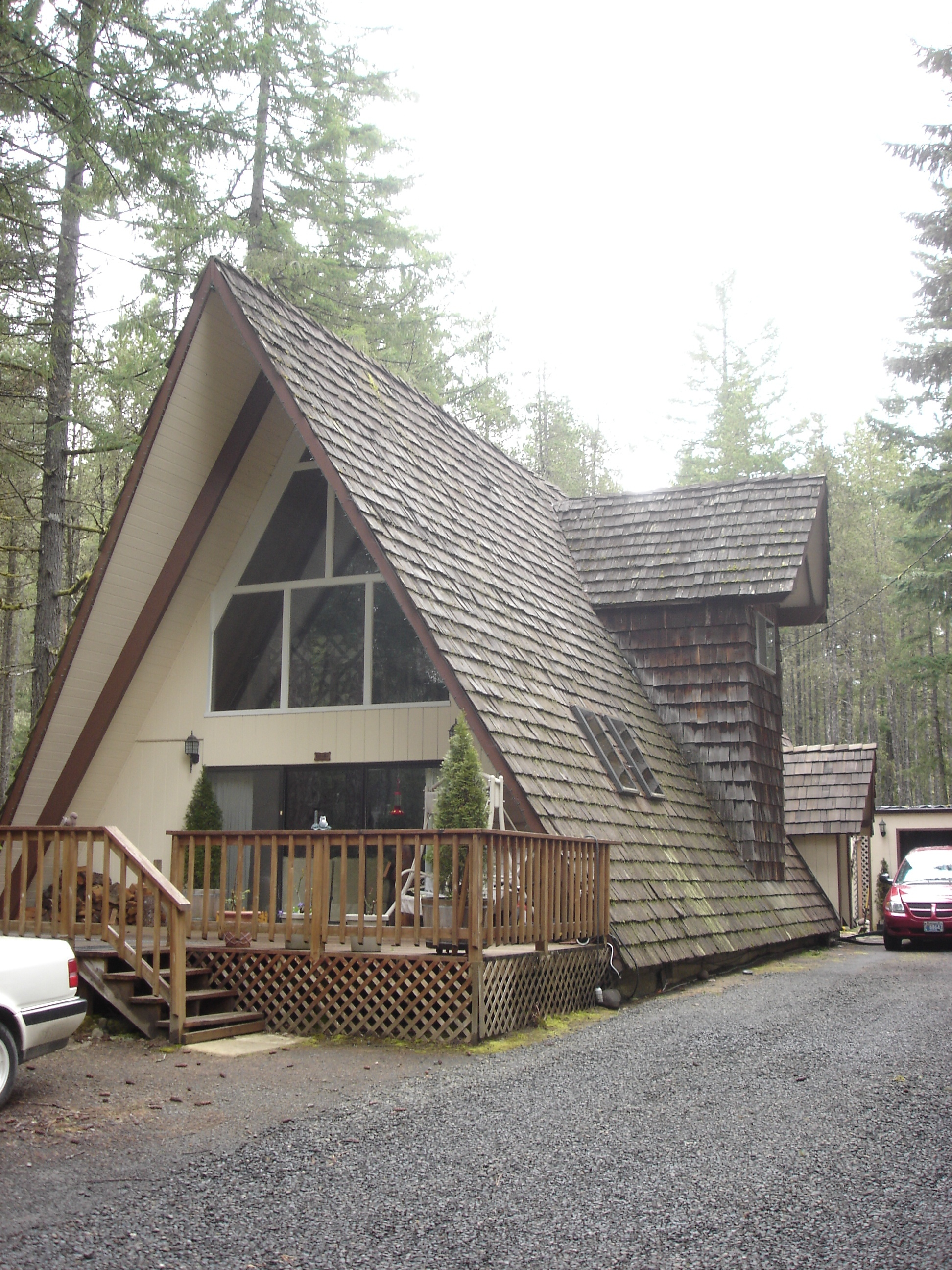 A dated a-frame house