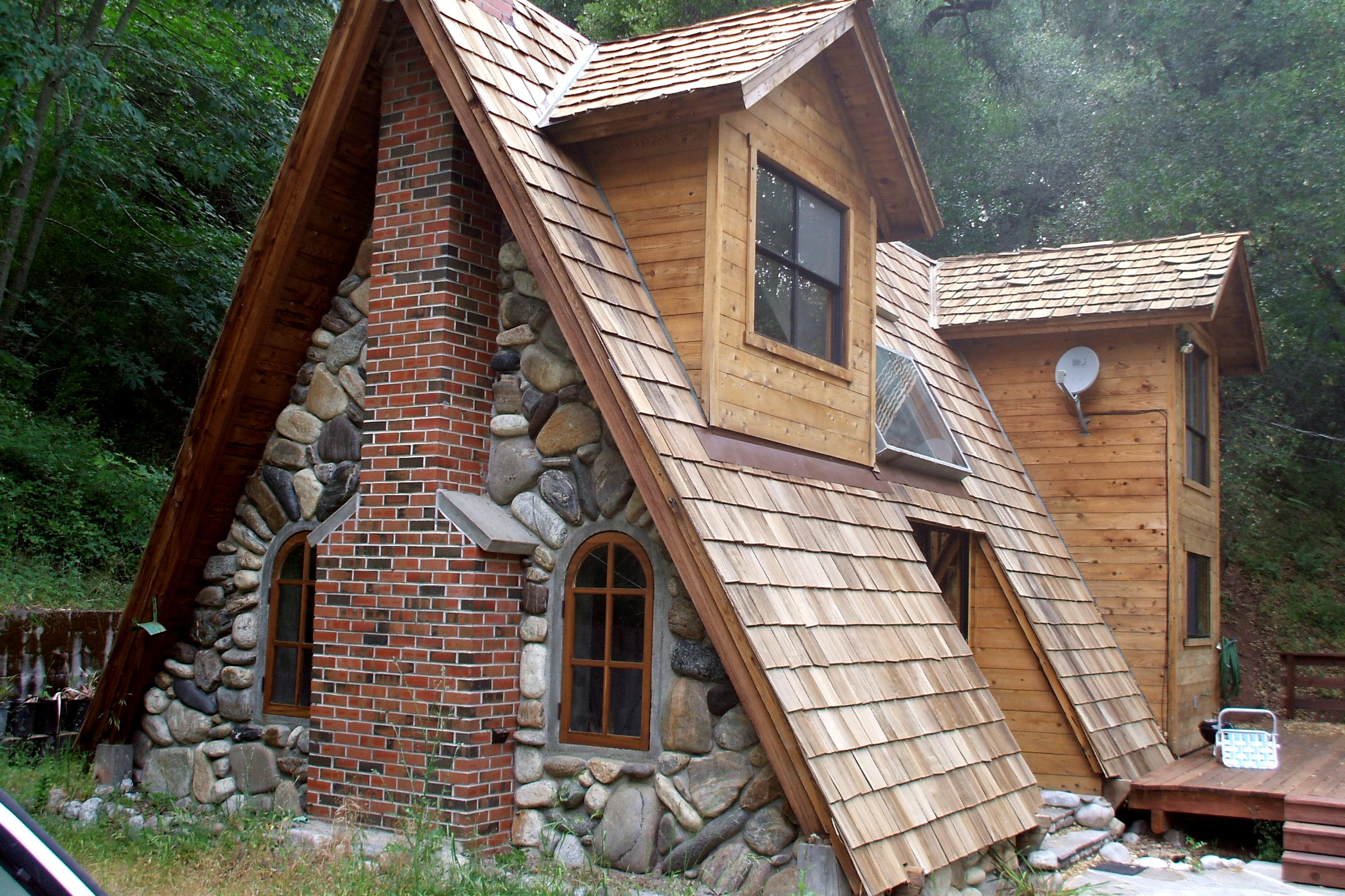 A shingled a-frame house