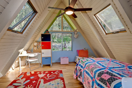 The bedroom in an a-frame house