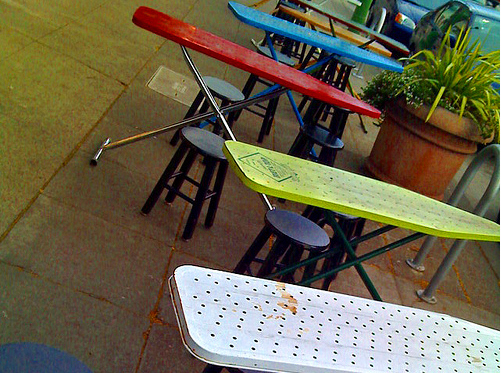 Ironing board as cafe tables, via Recyclart