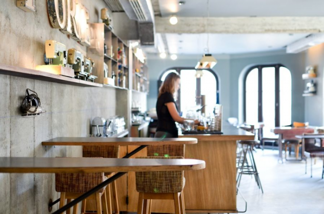 Ironing board as cafe tables, via Remodelista