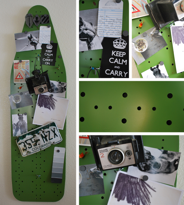Ironing board used as magnetic and bulletin board
