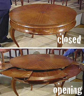 Antique round extendable table, made by Sir Edwin Lutyens