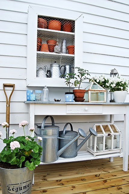 White and pretty potting bench