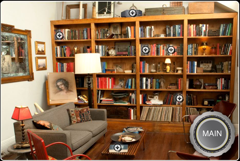 Books feature prominently in Neal Caffrey's lounge area.