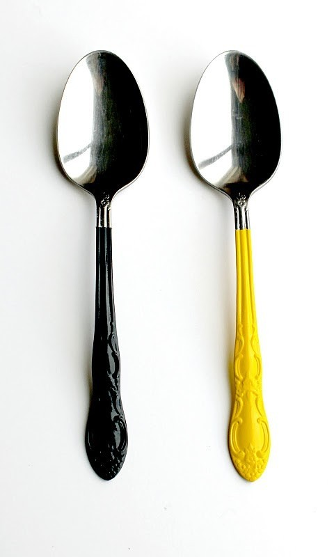 Silverware dipped in food safe paint, via Mr Goodwill Hunting