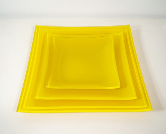 Square yellow glass plates