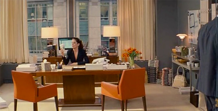Margaret Tate as her grey, orange and brown office, The Proposal.