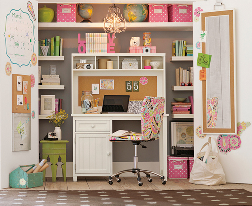 Pink and green craft storage in built in wardrobe, via PB Teen