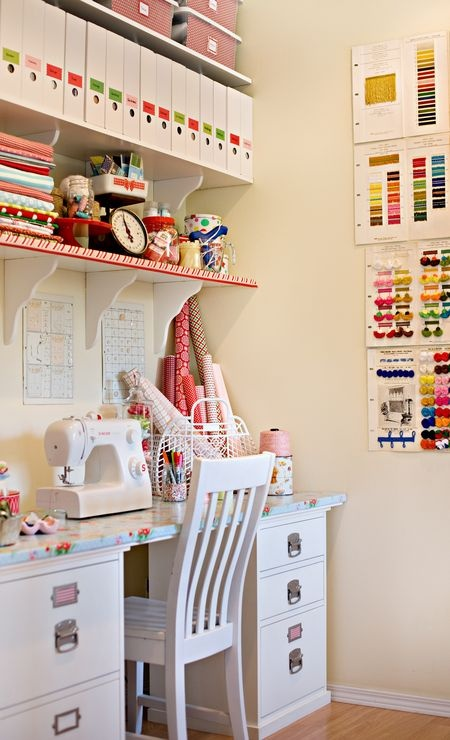 Pretty sewing corner, via Pinterest