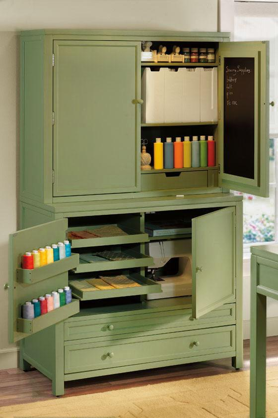 Beautiful green custom made craft cabinet for Martha Stewart, via Creative Compass