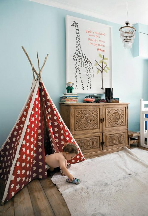 Blue room with red and white teepee, via Living Etc