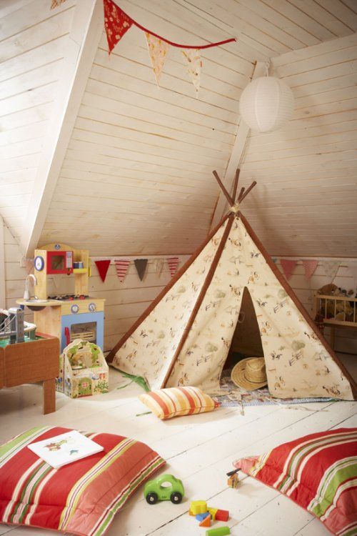 Teepee in a playroom, via The Marion House Book