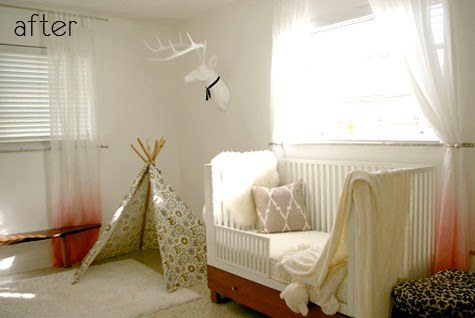 Beautiful teepee in bedroom, via Little House Well Done