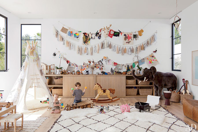 Teepee in playroom with rocking horse, via Glitter and Pearls