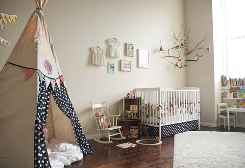 Tall teepee in nursery, via The House and the Pea