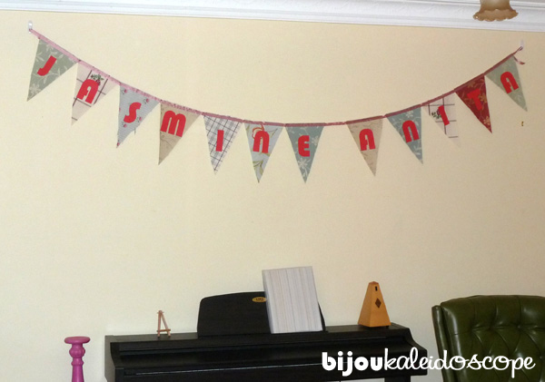 The Bunting I made for Jasmine's full moon celebration all hung up!