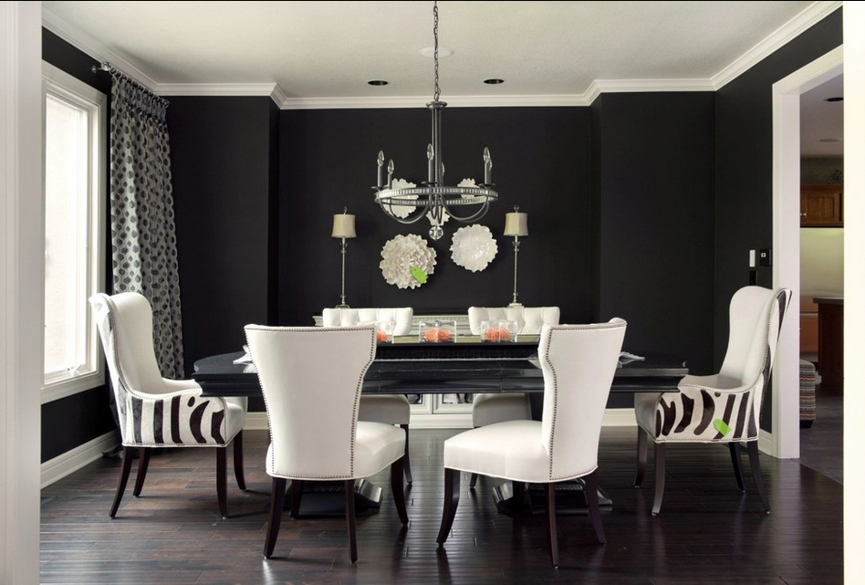 Black dining room with white chairs, via Doryn Wallach