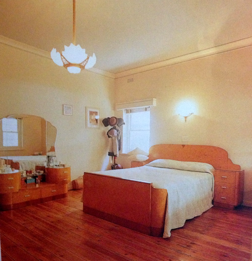 Art deco bedroom in apartment in Elwood, Melbourne, scanned from Period Home Renovator magazine