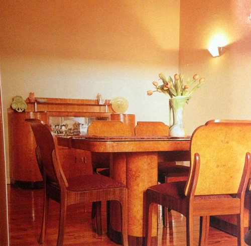 Dining room with art deco dining suite in apartment in Elwood, Melbourne, scanned from Period Home Renovator magazine