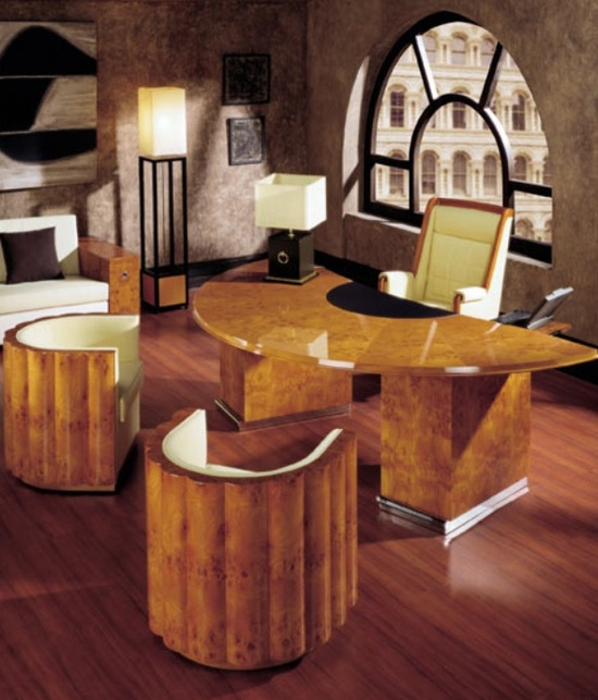 A high art deco office with curved birds eye maple chairs