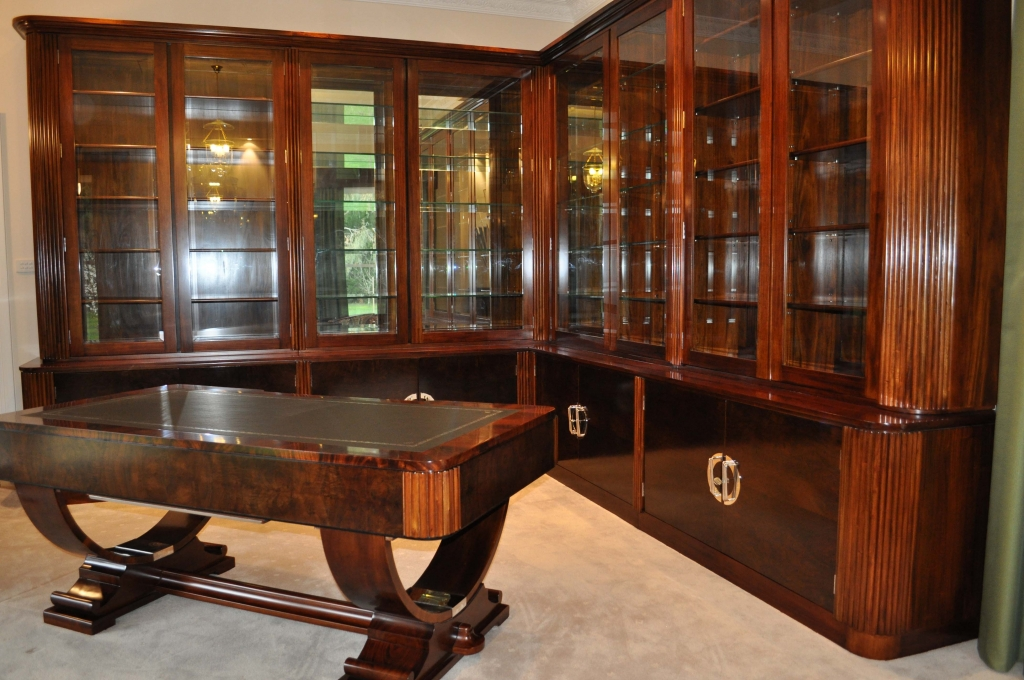 Dark coloured art deco desk and bookcase, via TImeless Interiors