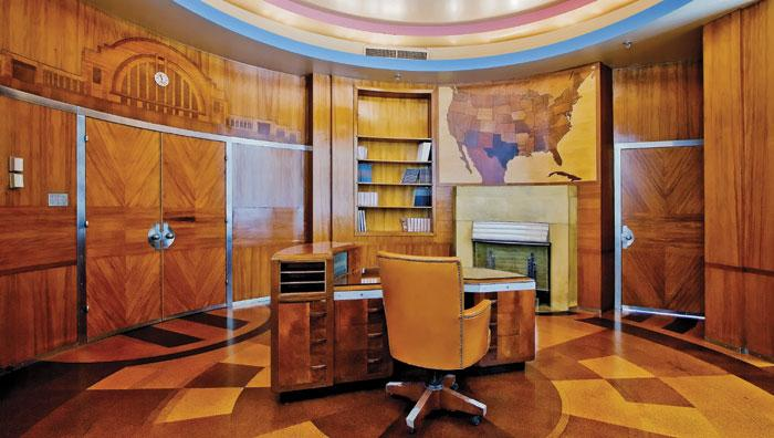 Superb art deco office with desk, chair and maple lined walls, via Art Deco Weddings