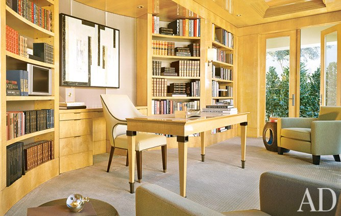 Blonde art deco desk and chair, via Architectural Digest