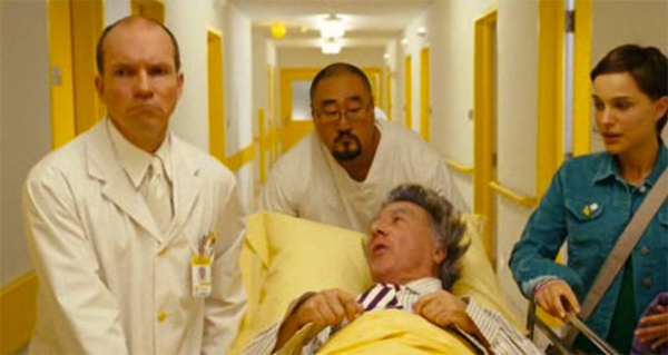 WHite and yellow hallway, hospital scene, Mr Magorium's Wonder Emporium