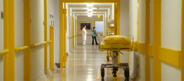 Yellow and white hospital hallway, Mr Magorium's Wonder Emporium