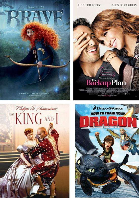 Movie posters, Brave, The Back-up Plan, the King & I, Dragon
