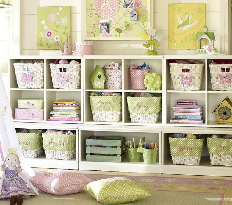 Shelving with pink and green items and baskets, via Marvelous Mommy