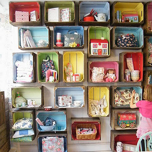 Crates coloured and mounted to store items in toy storage, via Lilsugar