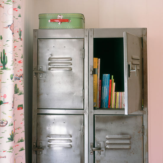 Metal storage lockers as toy storage, via House to Home