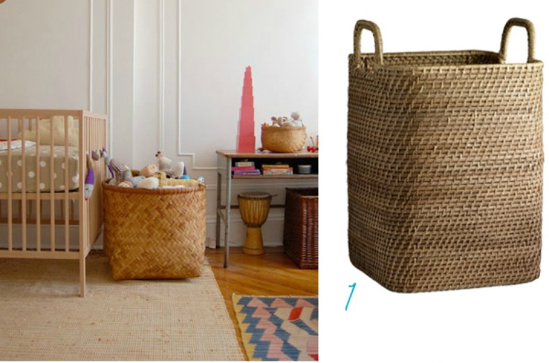 Woven baskets for toy baskets, via Coastal Home