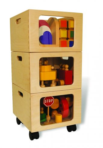 Chipboard stackable boxes for toy storage, via Tag Toys
